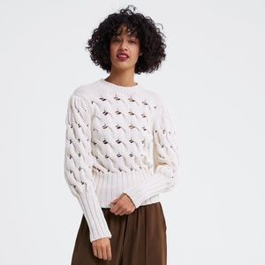 zara puff sleeves cable knit cream sweater